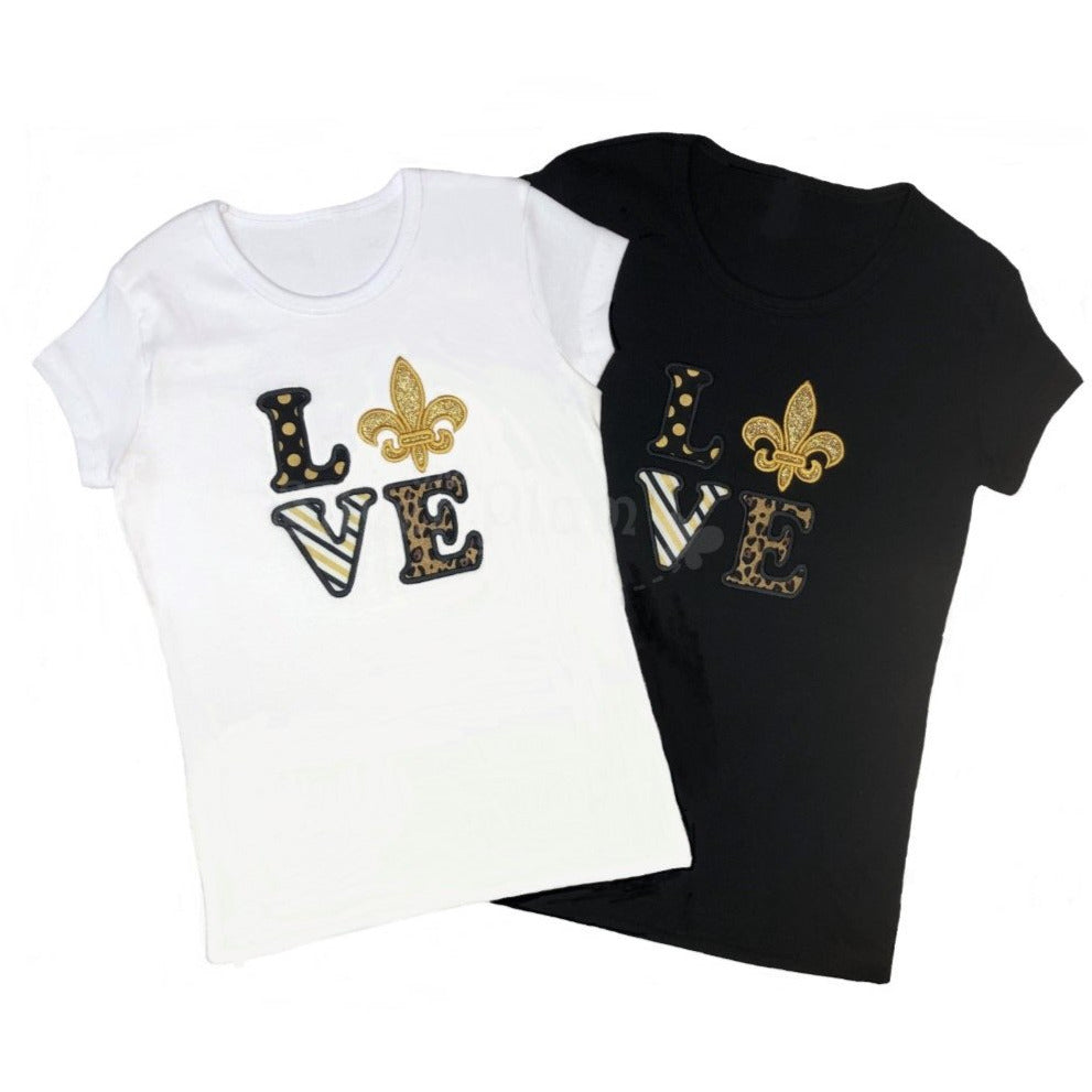 Sports - Saints LOVE Shirt - Matching Mom & Daughter Shirts, Short Sleeve Black or White