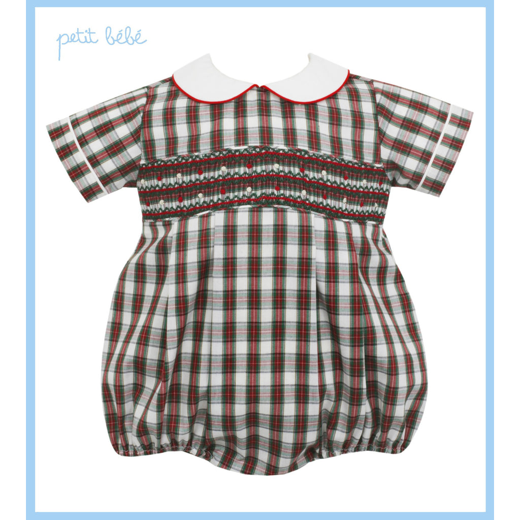 Petit Bebe - Ivory Plaid Boy's Bubble