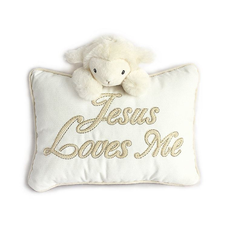 "Mon Ami -  Lamb ""Jesus Loves Me"" Pillow"