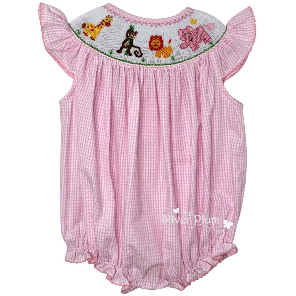 Lulu Bebe Zoo Animals Girls Smocked Bubble