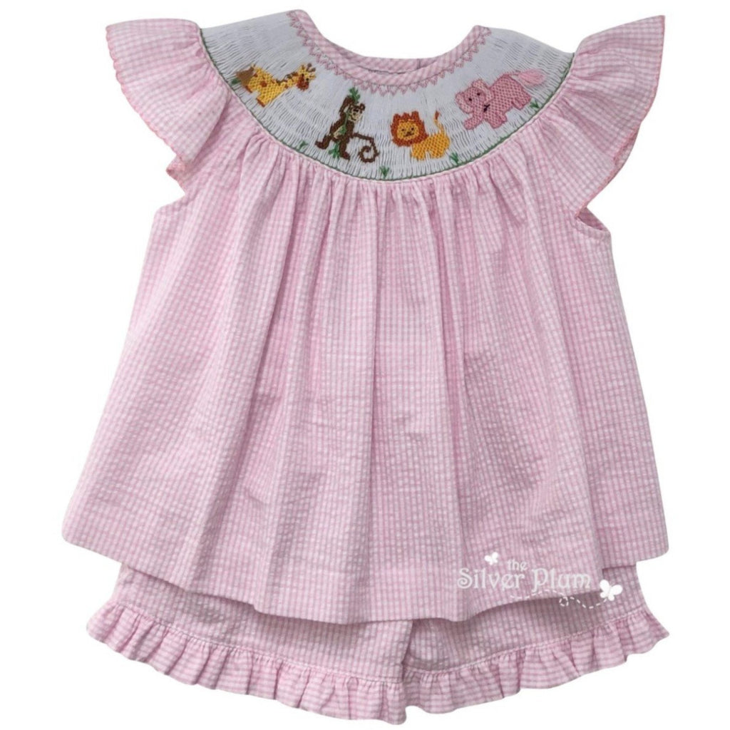 Lulu Bebe Zoo Animals Girls Bishop Short Set