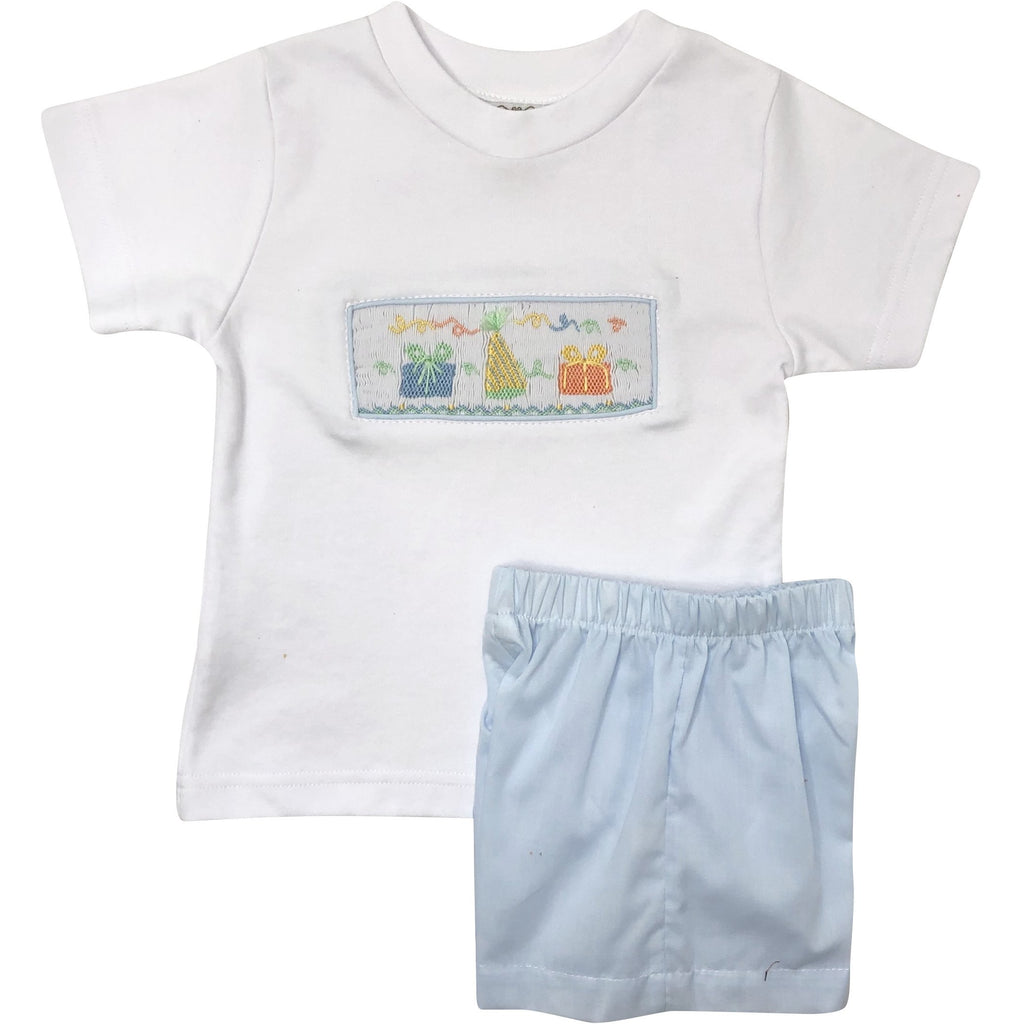 Lulu Bebe Smocked Birthday Boy Short Set