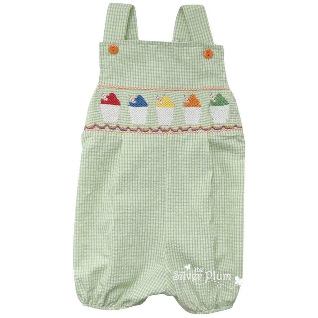 Lulu Bebe Smocked Snowcups, Snowcone Boys Green Strap Bubble