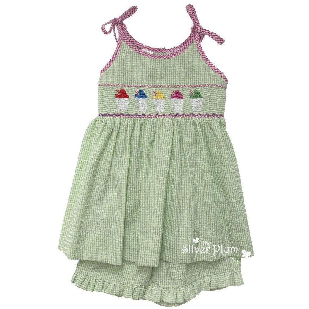 Lulu Bebe Smocked Snowcups Girls Short-Set