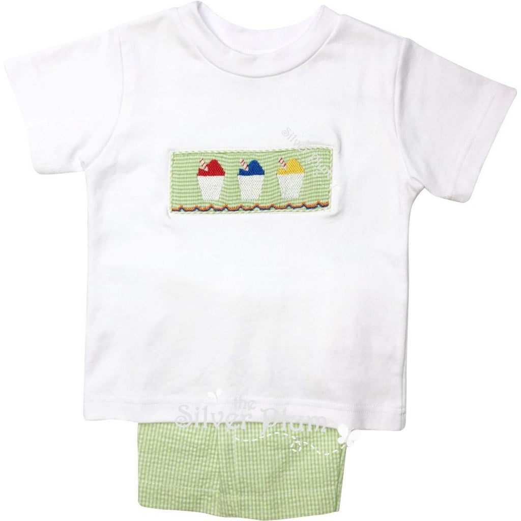 Lulu Bebe Snowcups, Snowcone Smocked Boys Short Set