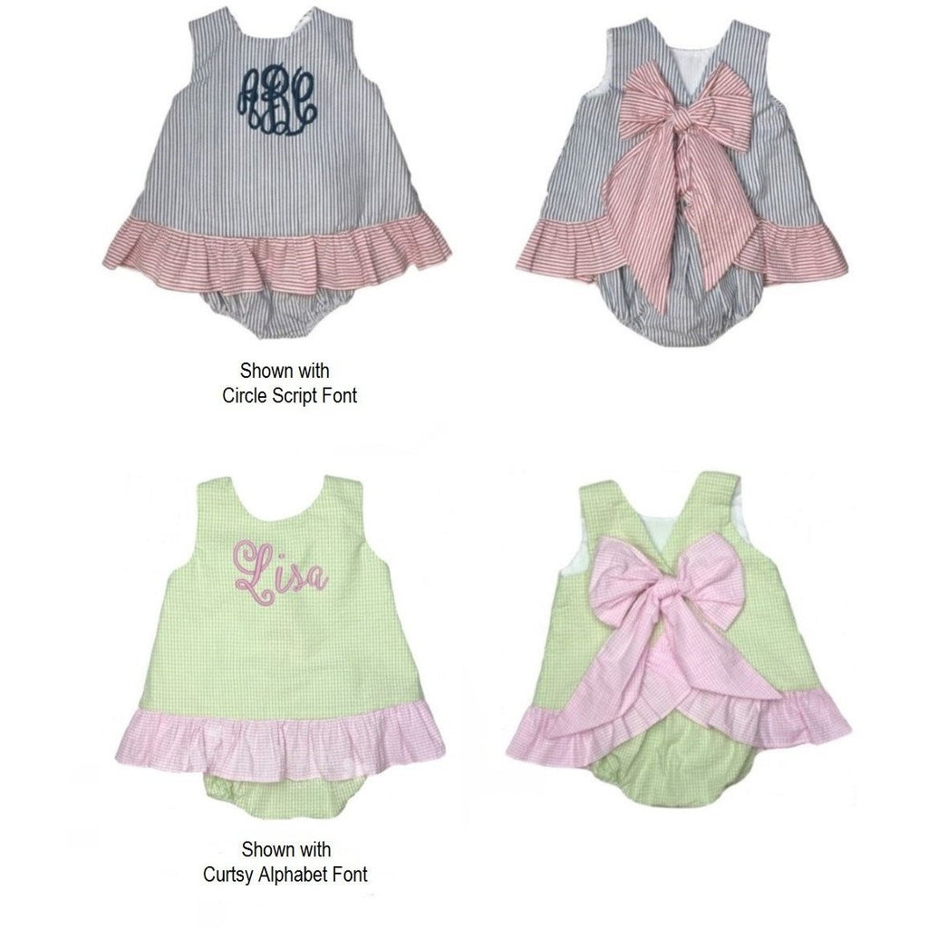 Seersucker Girls Ruffle Bloomer Set with Bow on Back - Monogram Available