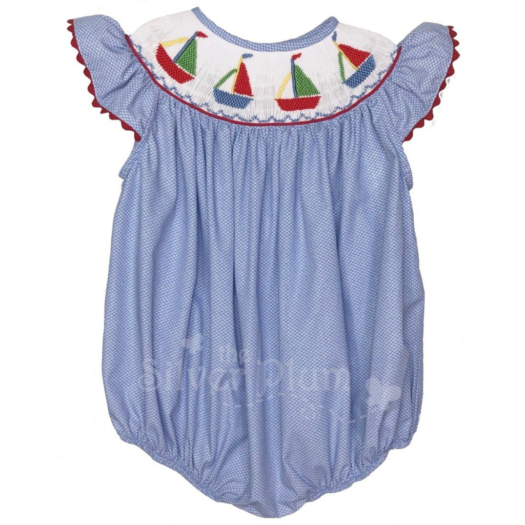 Lulu Bebe Sailboats Smocked Girls Bubble on Tiny Swiss Dot, Butterfly Sleeves