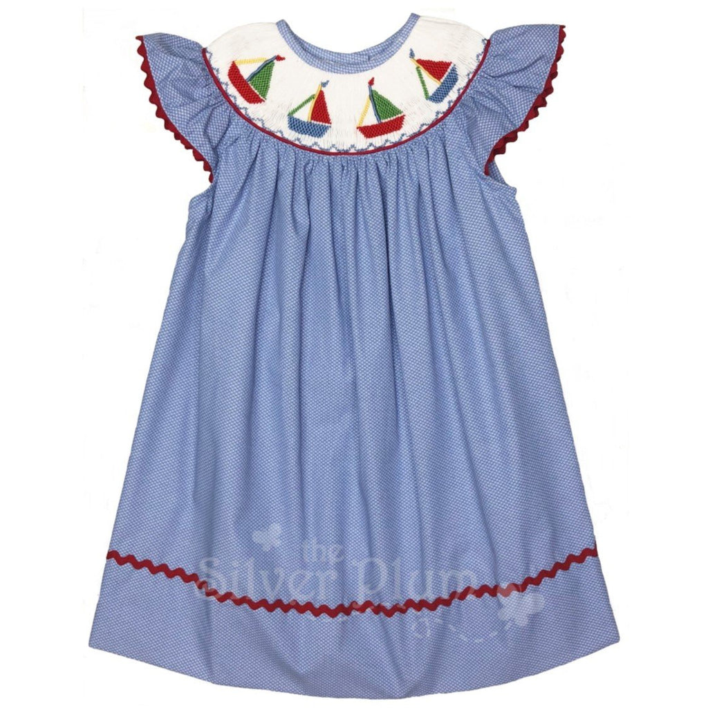 Lulu Bebe Sailboats Embroidered Girls Bishop, Butterfly Sleeves, Blue Swiss Dot