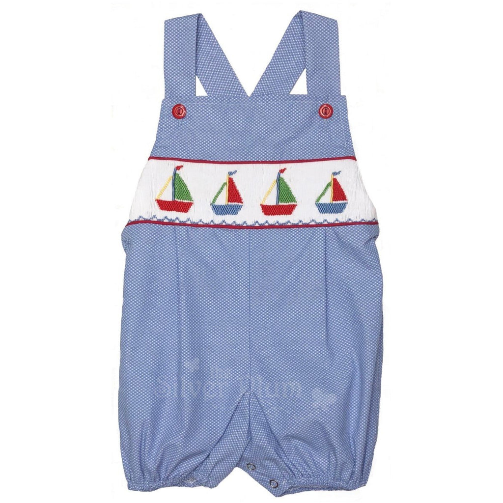 Sailboat Embroidered Boys Bubble with Straps -Blue Swiss Dot