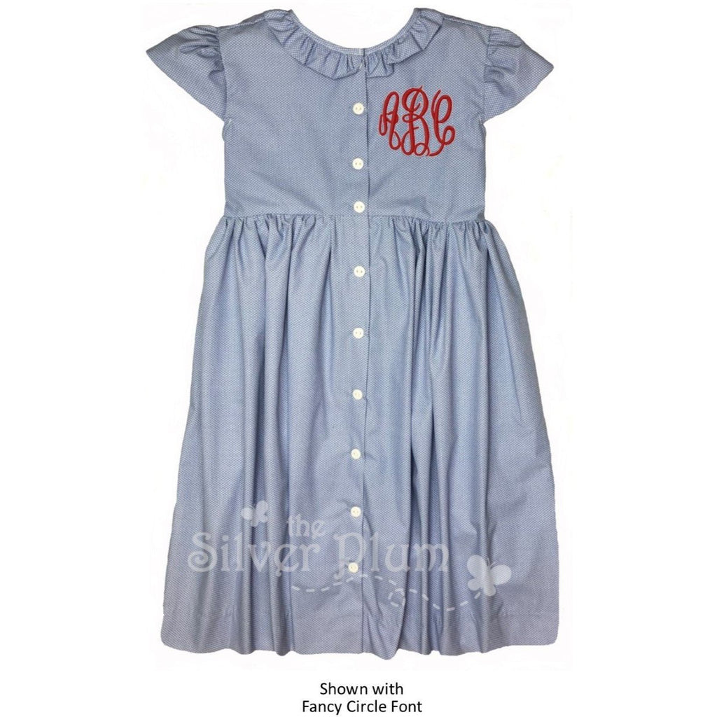 Girls Cap Sleeve Dress Blue Swiss Dot with Buttons Down Center - Monogram Available