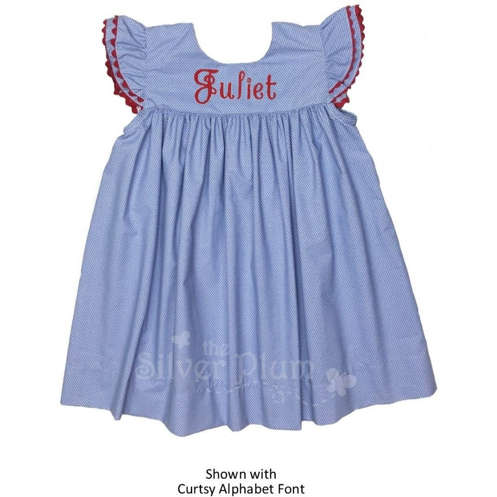 Girls Blue Dress with Butterfly Sleeve Trimmed in Red Ric-Rac, Monogram Available
