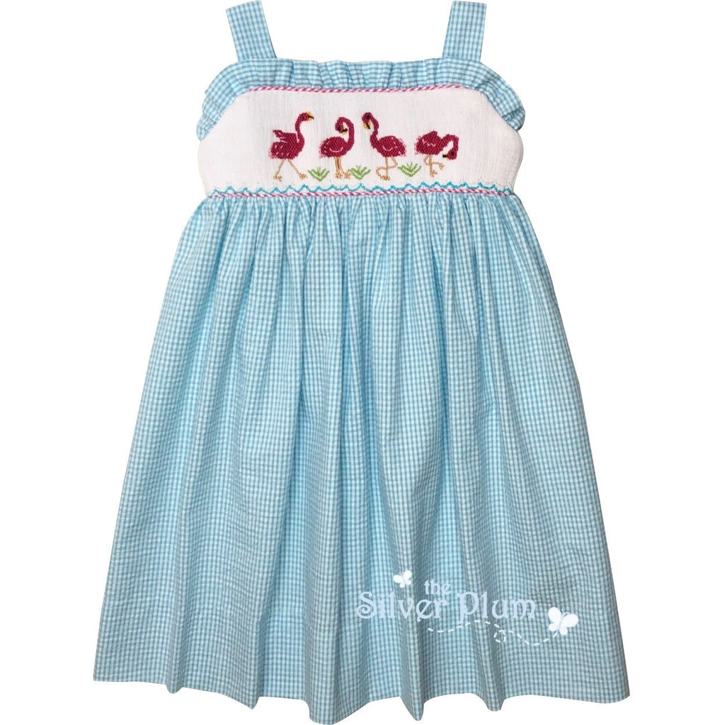 Lulu Bebe Flamingo Smocked Aqua Blue Dress