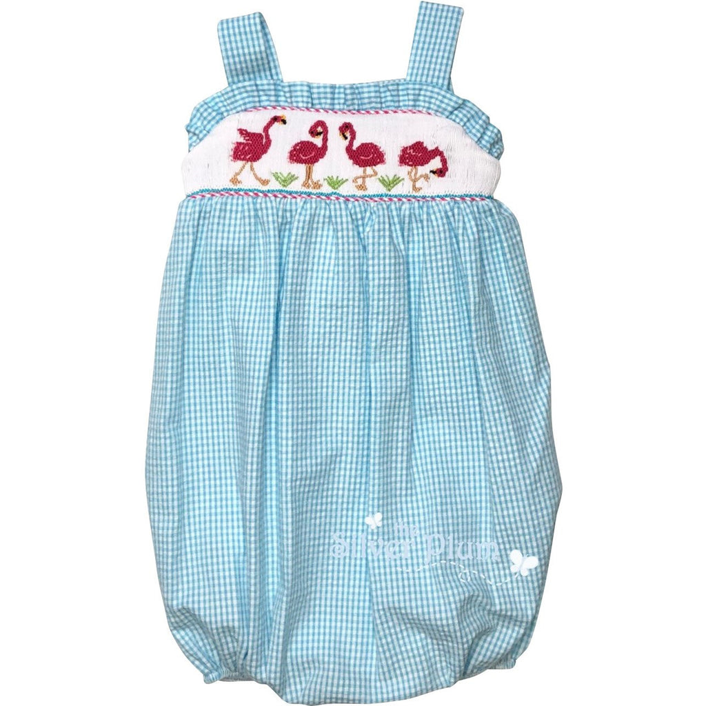 Lulu Bebe Flamingo Smocked Aqua Blue Girls Bubble