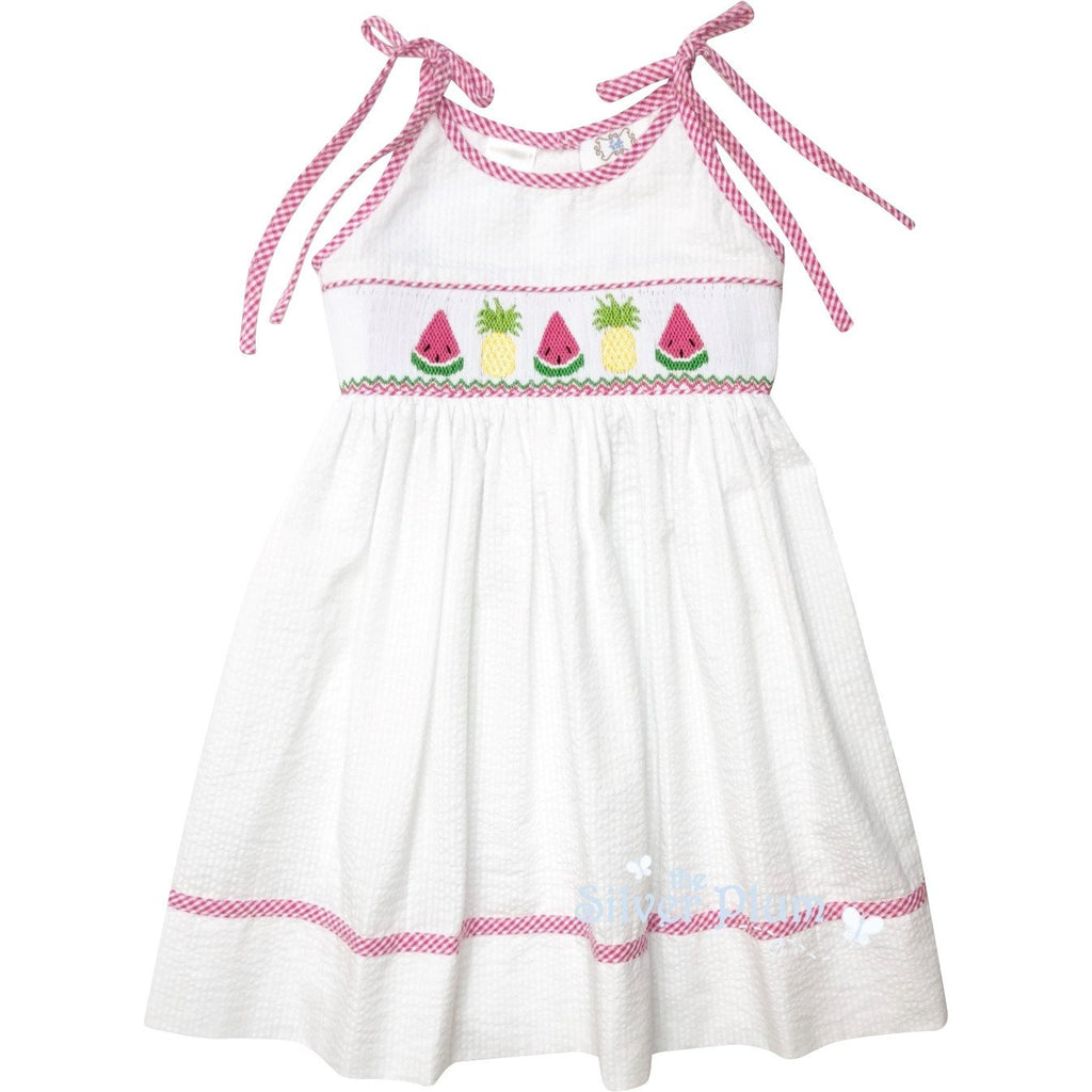 Lulu Bebe Watermelon & Pineapple Smocked White Seersucker Dress