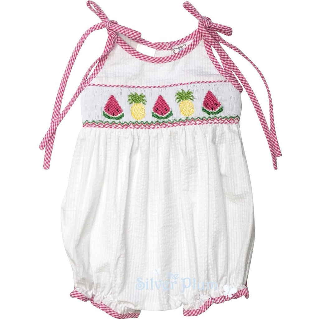 Lulu Bebe Watermelon & Pineapple Girl Bubble Smocked White Seersucker