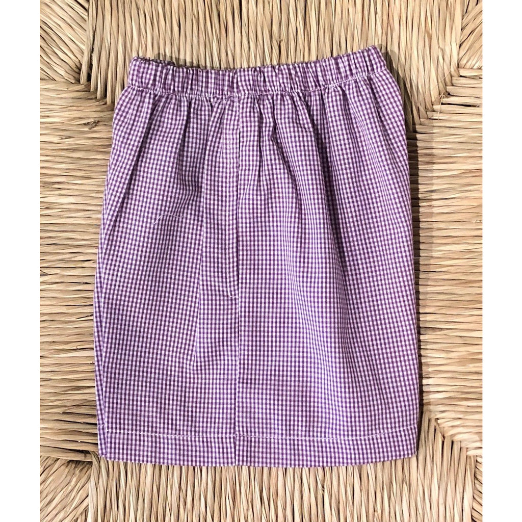 Lulu Bebe - Shorts Purple/White Mini Check LSU