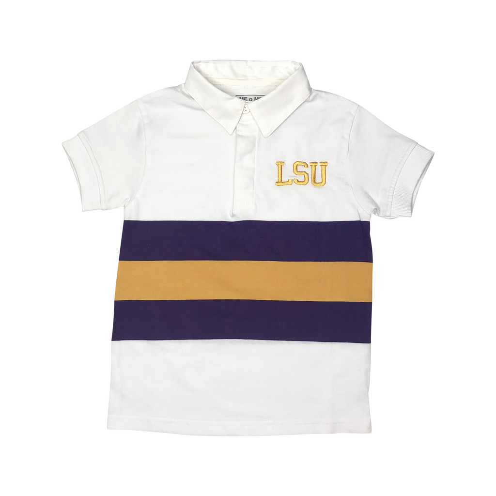 LSU White Rugby Shirt with Purple and Gold Broad Stripe, LSU Monogram, Short Sleeve with Collar