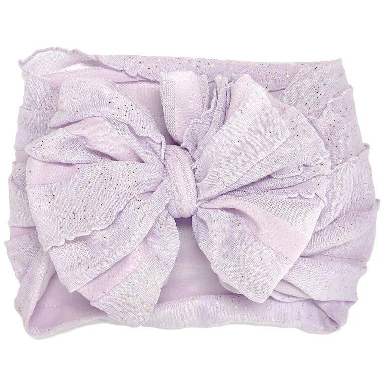 In Awe - Ruffled Headband - Lilac Gold Glitter