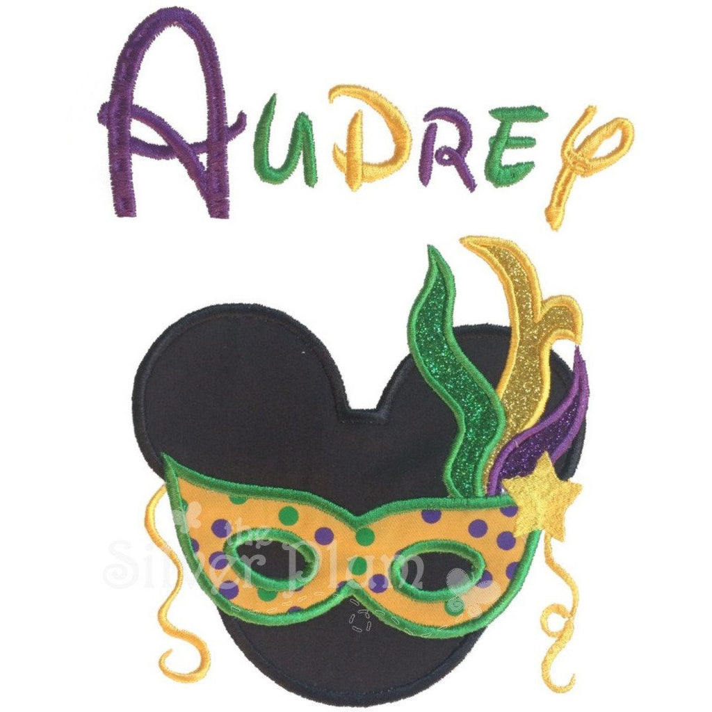 Mardi Gras - Minnie Face with Mask & Feathers, Purple, Green & Gold Applique with Personalized