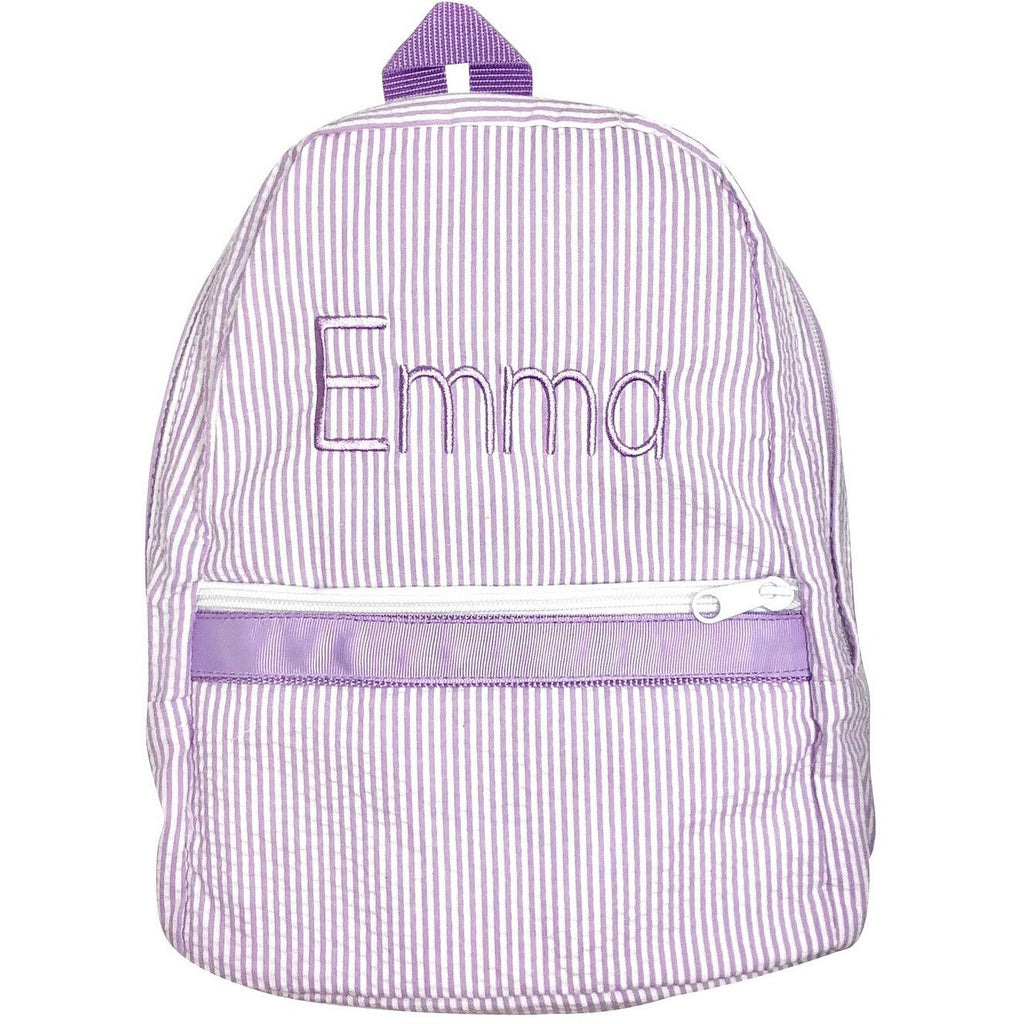 Seersucker Backpack, School Bag, Diaper Bag with Personalized Name or Monogram Initials