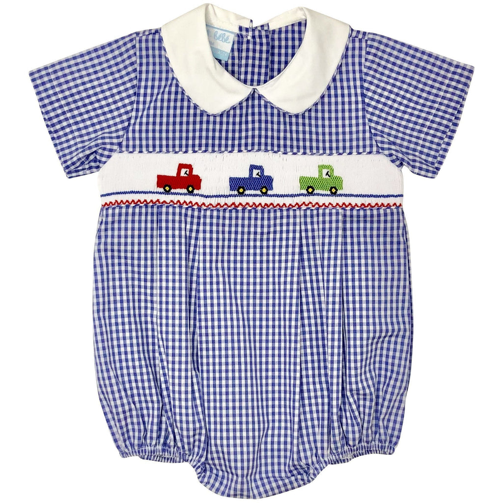 Petit Bebe Trucks Boys Smocked Bubble