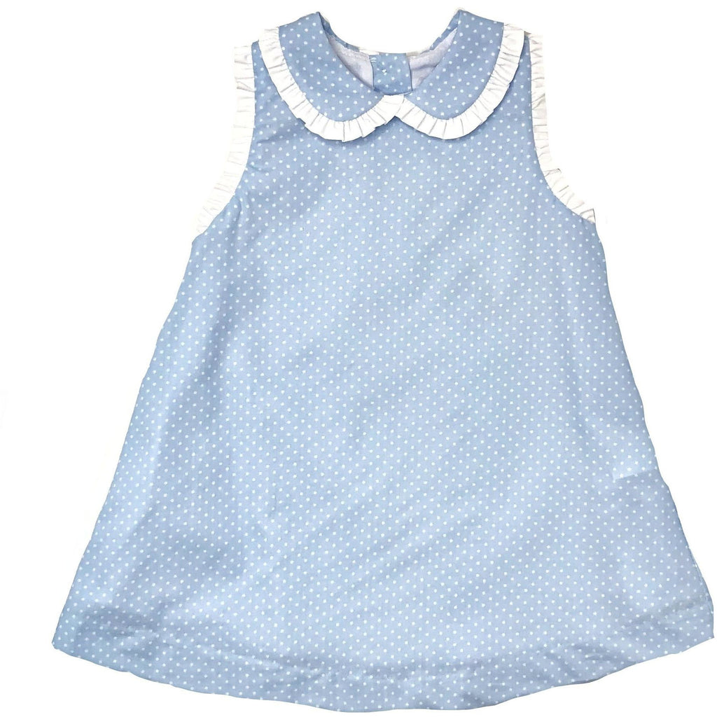 Petit Bebe Blue Swiss Dot Sleeveless Dress - Monogram Available