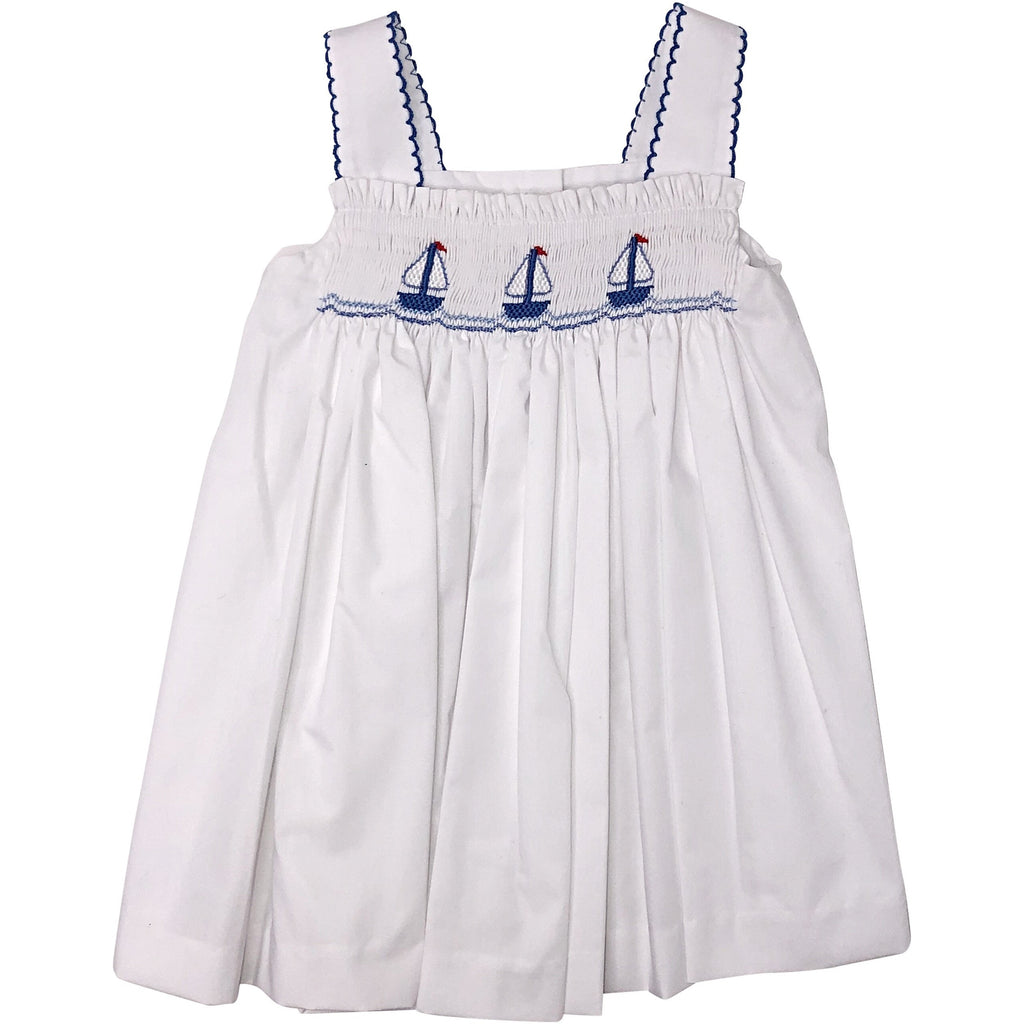 Petit Bebe Sailboats Smocked Strap Dress