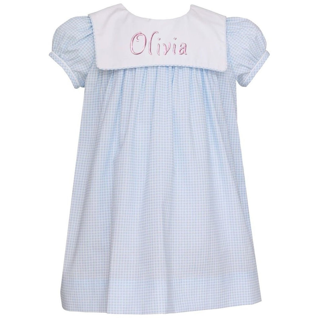 Girls Light Blue Check Dress with Collar - Monogram Available