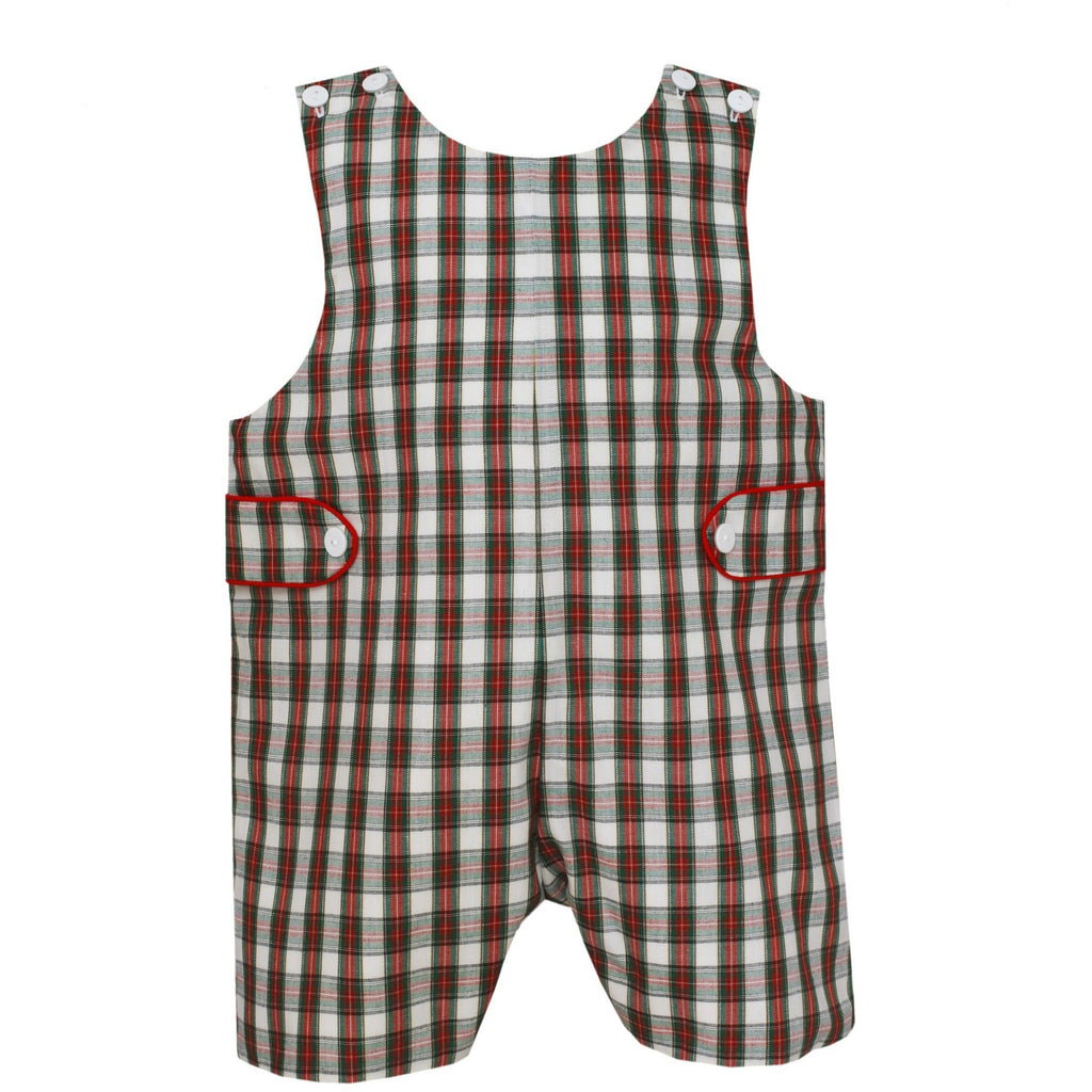 Petit Bebe - Christmas Red Plaid, Boys Shortall Set, White Peter Pan Shirt - FREE Monogram