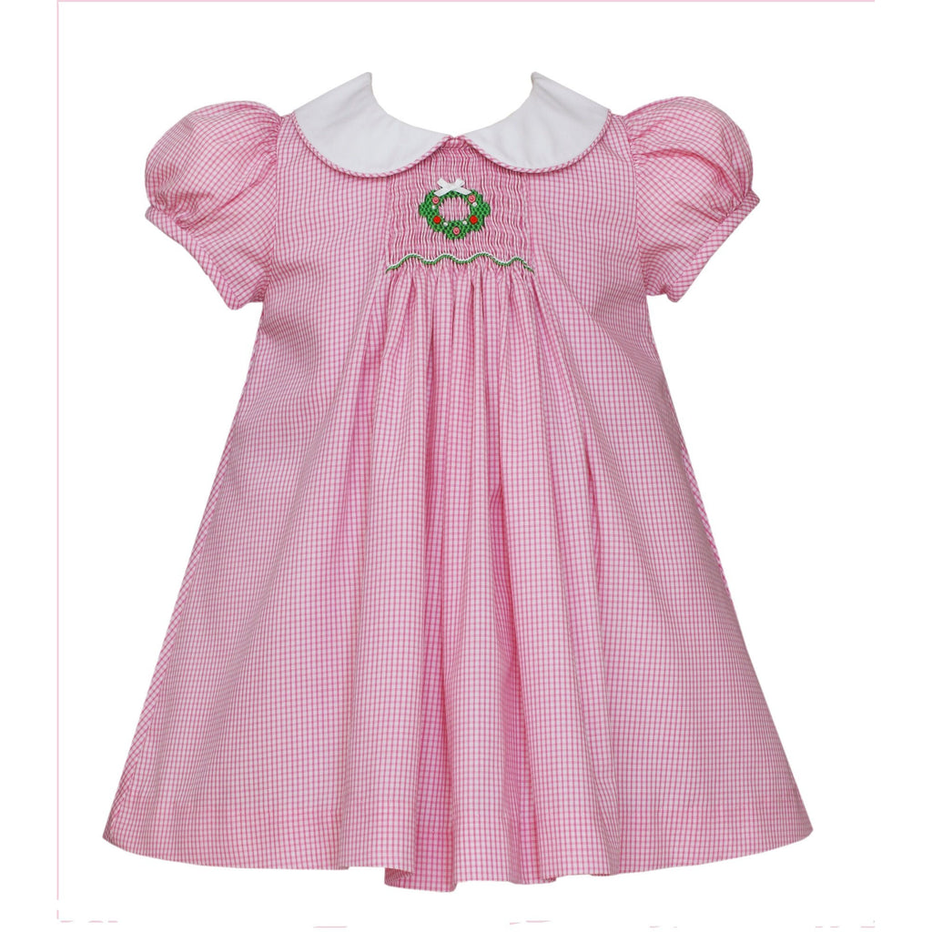 Petit Bebe - Christmas Holiday Wreath, Pink Float Dress, Short Sleeve, Collar