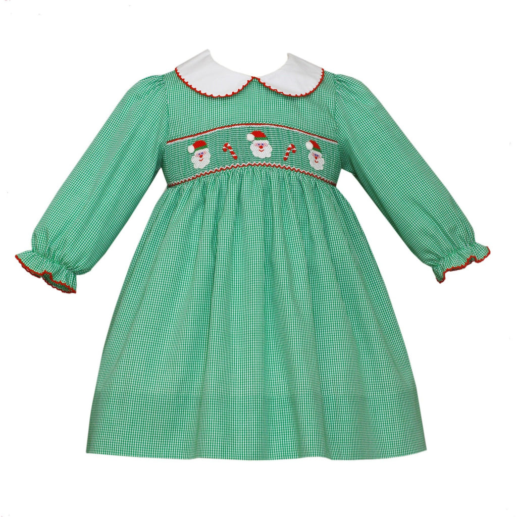 Petit Bebe - Smocked Santa Faces, Candy Canes, Girls Green Float Dress, Long Sleeve