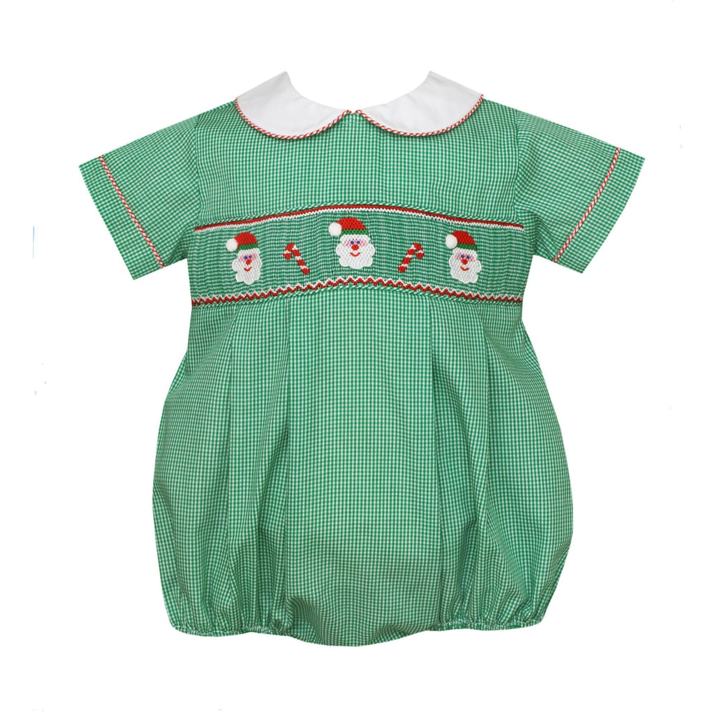 Petit Bebe - Smocked Santa Faces and Candy Canes, Infant Boy Bubble, Green, Short Sleeve