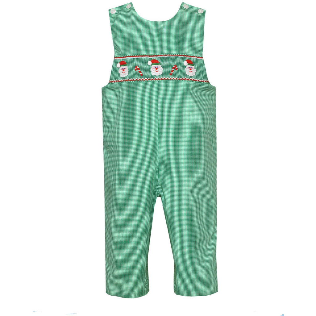 Petit Bebe - Santa Face and Candy Canes Boys Long John John Set, White Peter Pan Collar Shirt