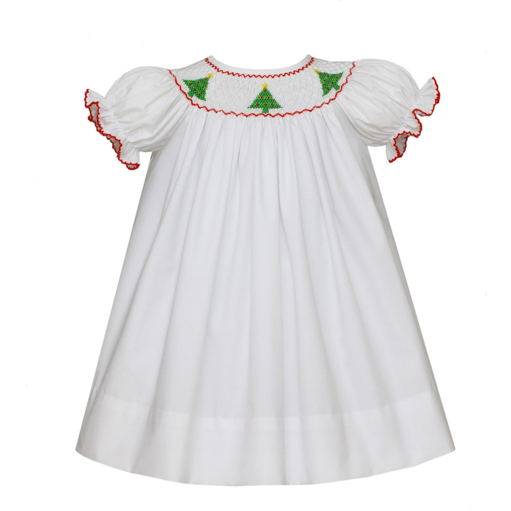 Petit Bebe - Christmas Trees, Infant Girls Dress, Bishop Short Sleeve, White Poplin