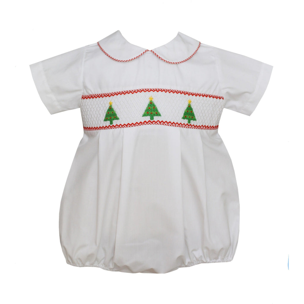 Petit Bebe - Christmas Trees, Infant Boys Smocked Bubble, Short Sleeve, White Poplin, Collar
