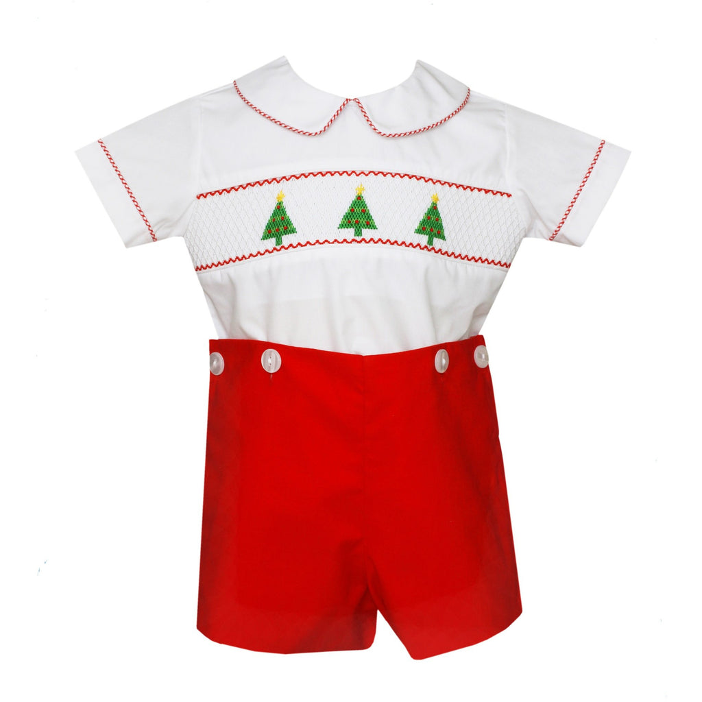 Petit Bebe - Christmas Trees, Boys White & Red Poplin Smocked Short Set, Round Collar