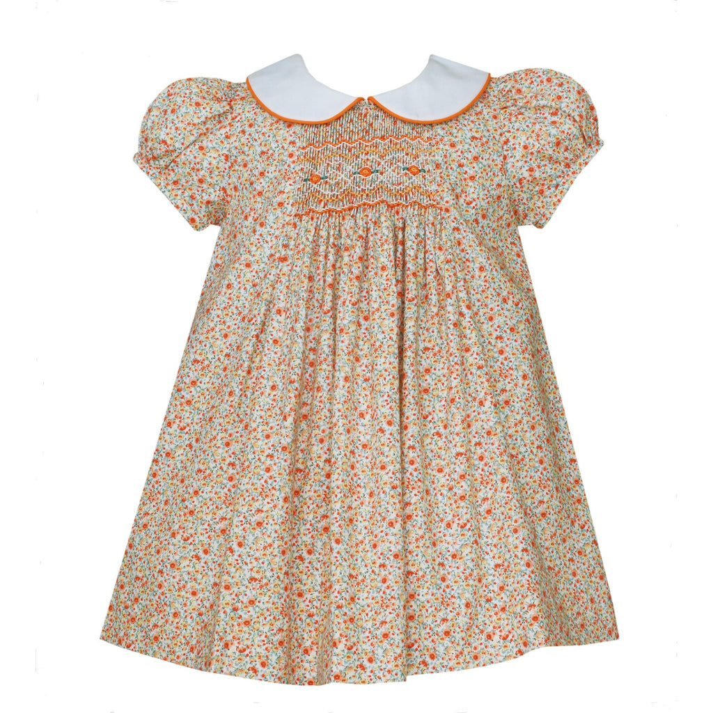 Petit Bebe - Charlotte Float Dress with Collar, Short Sleeve, Smock, Orange Floral