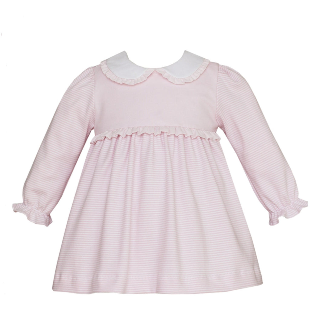 Petit Bebe - Pink Knit Dress with Ruffle White Collar, Long Sleeve, Pink Stripe