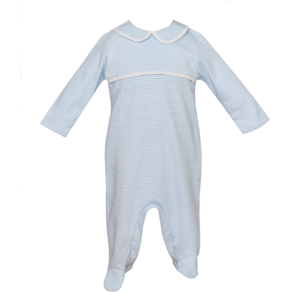 Petit Bebe - Infant Boys Soft Knit Blue & White Stripe Footie, Long Sleeve with Collar