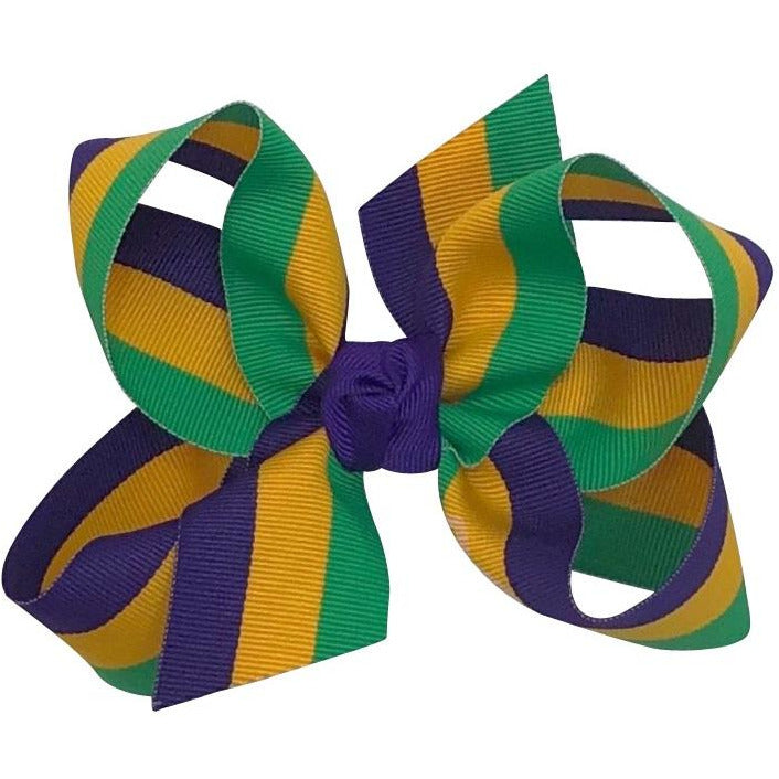 Mardi Gras Bow Grosgrain Stripe XL - Alligator Clip Back