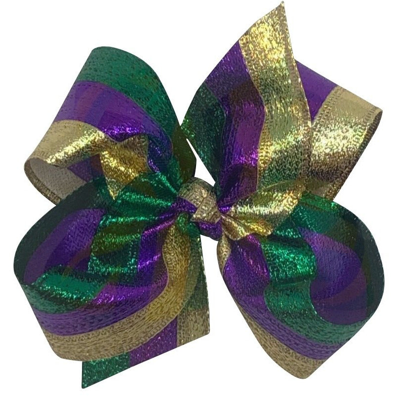 Mardi Gras Bow Metallic Stripe XL - Alligator Clip Back