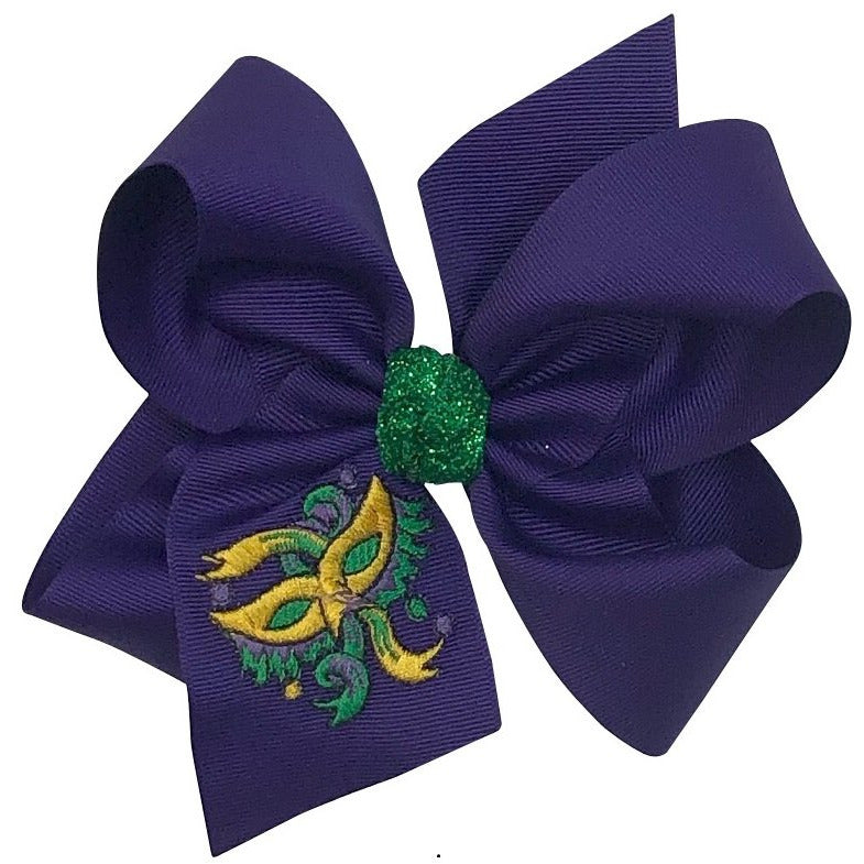 Mardi Gras Bow With Embroidered Mask XL - Alligator Clip Back