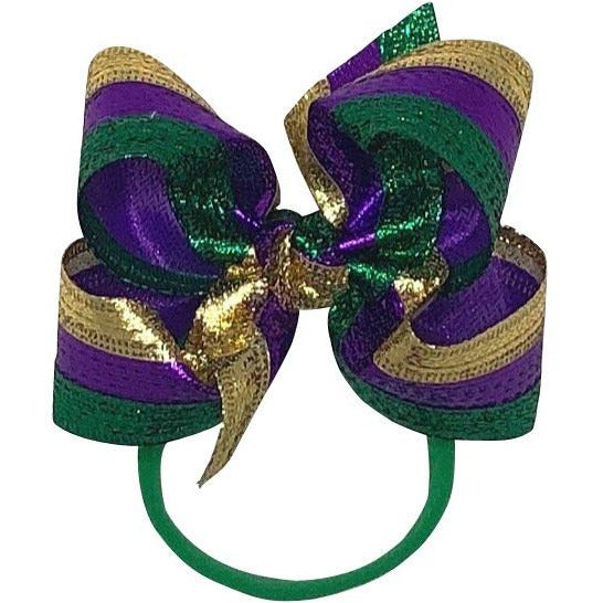 Mardi Gras Bow on Thin Pantyhose Headband