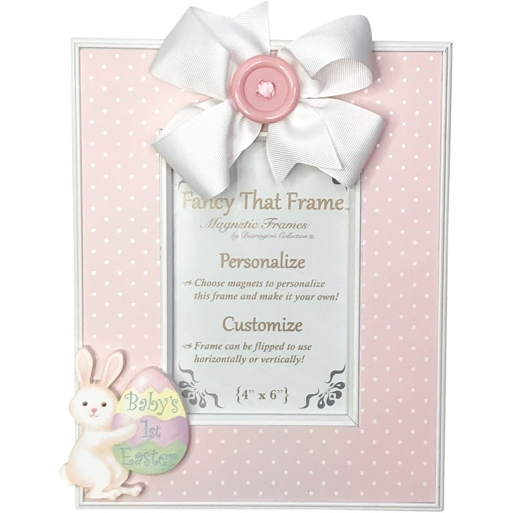Magnetic Pink Dot Photo Frame - Removable Bow and Baby's 1st Easter