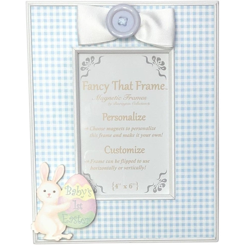 Magnetic Blue Check Photo Frame - Removable Bow & Baby's 1st Easter