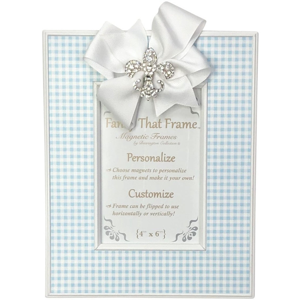 Magnetic Blue Check Photo Frame - Removable Bow with Rhinestone FDL, Fleur de' Lis