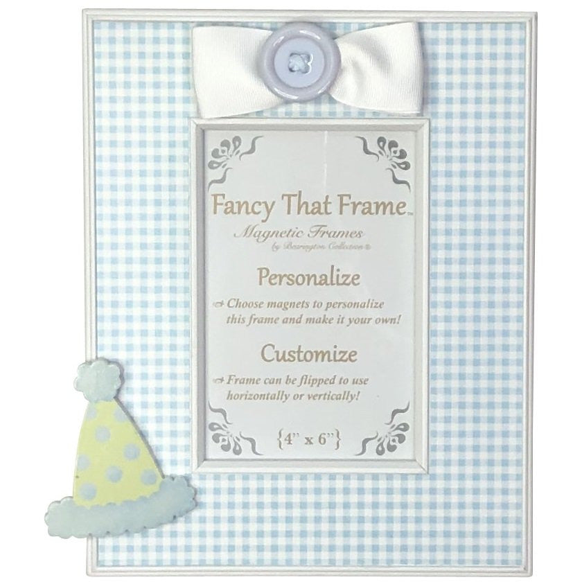 Magnetic Blue Check Photo Frame - Removable Bow & Birthday Hat