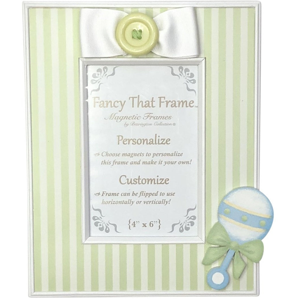 Magnetic Green Stripe Photo Frame - Removable Bow & Baby Rattle