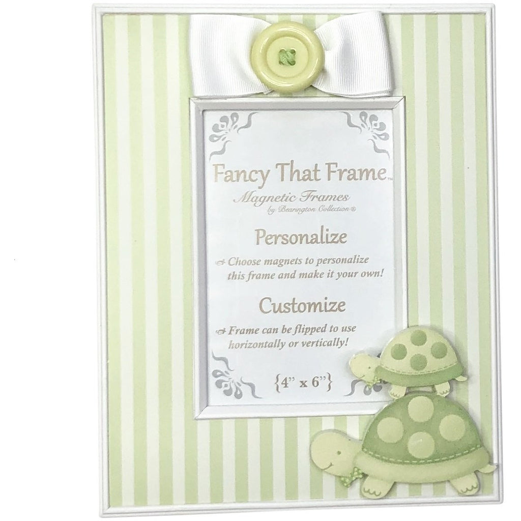 Magnetic Green Stripe Photo Frame - Removable Bow & Turtles