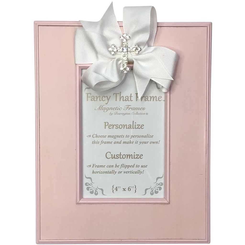 Magnetic Pink Striat Photo Frame - Removable White Bow & Rhinestone Cross